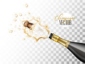 Realistic champagne explosion. Black glass bottle with gold label popping its cork splashing closeup. Christmas, new year, birthday celebration vector illustration on transparent background
