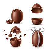 Realistic chocolate eggs set. Broken, exploded eggshell, two halves and whole egg with bow. Sweet easter holiday symbol. Vector dessert made of dark cocoa. Restaurant, cafe menu, celebration design.