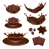 Vector set of chocolate form icons isolated on white background. Tasty pieces of chocolate bar, molten chocolate, liquid chocolate splashes and drops.