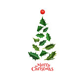 vector realistic spruce tree made from ilex, holly mistletoe leaves with berries - isolated illustration on a white background. Christmas, new year holiday decoration object for your design