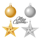 Xmas, new year winter holiday, christmas tree toys - balls and stars set. Gold and monochrome decorative elements for your poster, banner invitation card design. Vector illustration on white backgroud