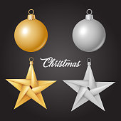 Xmas, new year winter holiday, christmas tree toys - balls and stars set. Gold and monochrome decorative elements for your poster, banner invitation card design. Vector illustration on black backgroud