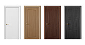 Vector realistic different closed white, brown and black wooden door icon set closeup isolated on white background. Elements of architecture. Design template for graphics. Colorful front doors to hous