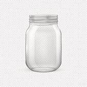 Vector realistic empty glass jar for canning and preserving with silvery lid closeup isolated on transparent background. Design template for advertise, branding, mockup. EPS10 illustration.