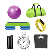 Vector fitness icon set. Realistic 3d illustration isolated on white background.