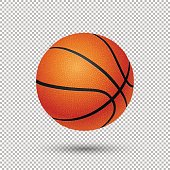 Vector realistic flying basketball closeup isolated on transparent background. Design template, EPS10 illustration.