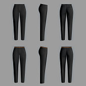 Vector realistic black trousers for women isolated on gray background. Formal, straight female pants 3d illustration. Two models, clean and ironed, with belt and without it. Mockup for your design