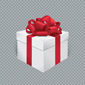 Vector realistic gift box with red ribbon and bow. Transparent background.