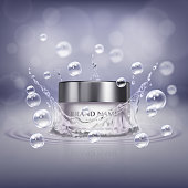 Vector promotion banner with realistic glass jar of cosmetic product, bottle of hand cream or facial mask on background with water splash and drops. Moisturising beauty product for skin care