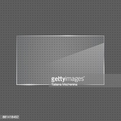 Vector realistic glossy rectangular glass frame : stock vector