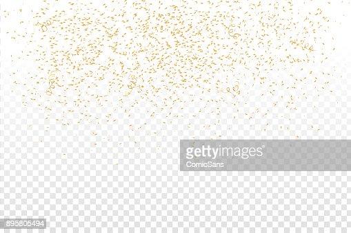 ベクトル透明の背景上の現実的な黄金の紙吹雪。お誕生日おめでとう、パーティー、休日の概念。 : ベクトルアート