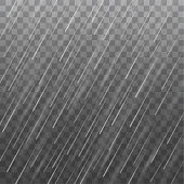 Vector realistic heavy rain texture isolated on transparent background
