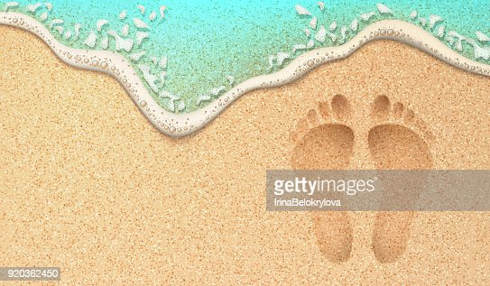 Vector realistic human footprint on sea beach sand : stock vector