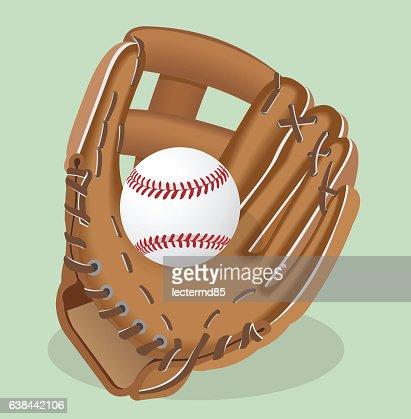 Vector realistic illustration. Baseball glove and ball. : stock vector