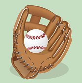 Vector realistic illustration. Baseball glove and ball. Sport equipment.