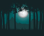 Vector realistic illustration of a haunting forest with grass under a green night sky with moon and stars