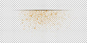 Vector realistic isolated border with golden confetti on the transparent background. Concept of happy birthday, party and holidays.