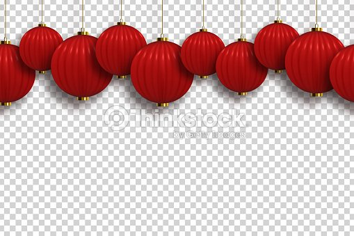 Vector Realistic Isolated Chinese Lantern Seamless Pattern Border For Template Decoration And Covering On The Transparent