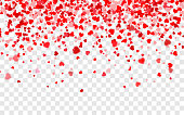Vector realistic isolated heart confetti on transparent background for decoration and covering. Concept of Happy Valentine's Day, wedding and anniversary.