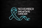 Vector realistic isolated neon sign of Blue Ribbon logo for decoration and covering on the wall background. Concept of November, Prostate cancer awareness month.