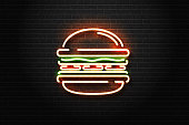 Vector realistic isolated neon sign of burger logo for decoration and covering on the wall background. Concept of fast food, cafe and restaurant.