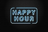 Vector realistic isolated neon sign of Happy Hour lettering logo for decoration and covering on the wall background. Concept of night club, free drinks, bar counter and restaurant.