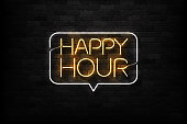 Vector realistic isolated neon sign of Happy Hour logo for decoration and covering on the wall background. Concept of night club, free drinks, bar counter and restaurant.