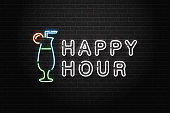 Vector realistic isolated neon sign of Happy Hour logo with cocktail for decoration and covering on the wall background. Concept of night club, free drinks, bar counter and restaurant.
