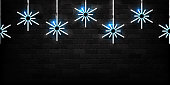 Vector realistic isolated neon sign of Snowflakes seamless pattern for decoration and covering on the wall background. Concept of Merry Christmas and Happy New Year.