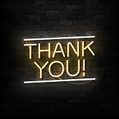 Vector realistic isolated neon sign of Thank You symbol for template decoration and covering on the wall background.