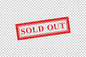 Vector realistic isolated red rubber stamp of Sold Out logo for template decoration on the transparent background.