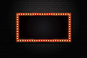 Vector realistic isolated retro rectangle neon billboard for decoration and covering on the wall background.