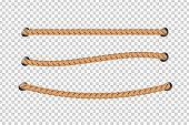 Vector realistic isolated rope for decoration and covering on the transparent background.