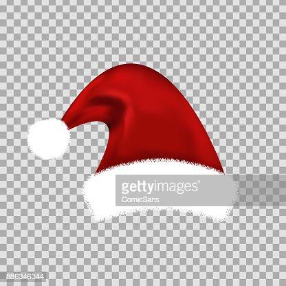 Vectores realistas aisladas Santa Claus sombrero para decoración y revestimiento en el fondo transparente. Concepto de feliz Navidad y feliz año nuevo. : Arte vectorial