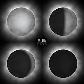 Vector realistic moon phases. Four basic moon phases.