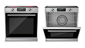 Vector 3d realistic compact oven with induction cooktop, with pre-set cooking programs, with open and close door, front view isolated on background. Built-in household appliance, modern stove