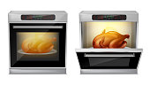 Vector realistic oven with baked turkey on white plate inside, with open and close door isolated on background. Process of baking chicken in modern multifunction stove with touch menu and timer