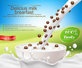 Vector realistic poster with a milk splash and milk with a cereal breakfast pouring into a cup, chocolate cereal balls. Design element for packaging and advertising a new product for a healthy diet