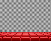 Vector realistic rows of red cinema or theater seats, empty velvet chairs for show or concert visitors, isolated on transparent background. Design template for movie premiere posters, announcements