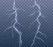 Vector realistic set of lightning effects isolated on transparent background