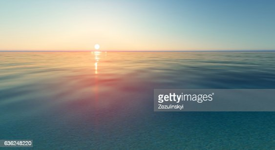 Vector realistic sunset and sea water : Vector Art