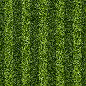 Vector realistic top view illustration of soccer green grass field. Seamless striped line football stadium texture. Sports lawn background.