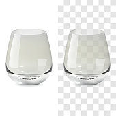 Realistic transparent and isolated whiskey tumbler glass. Alcohol drink glass vector icon illustration