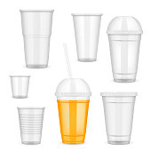 Vector filled and empty transparent disposable plastic cup set. Container for cold, hot drink realistic templates.