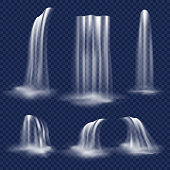 Realistic waterfall set. Vector illustration of falling water streams isolated on transparent background.