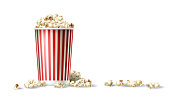 Vector illustration of a red and white cardboard bucket with popcorn in a realistic style isolated on white