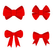 Vector red bow for decorating gifts, surprises for holidays. Packing presents for birthday, new year and Christmas. Promotion and Discount flat illustration. Objects isolated on white background.