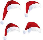 Vector Illustration of Red Santa Hats