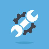Vector repair icon. Blue wrench and black gear. Creative graphic design logo element. Flat design vector illustration isolated on blue background