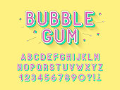 Vector retro Bubble gum bold font design, alphabet, typeface, typography. Vector illustration